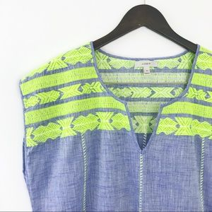 J. Crew Embroidered Chambray Beach Cover Tunic